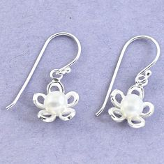 Natural white pearl 925 sterling silver dangle flower earrings jewelry c25666