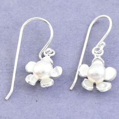 Natural white pearl 925 sterling silver dangle flower earrings jewelry c25675