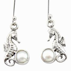 2.12cts natural white pearl 925 sterling silver dangle seahorse earrings d46797