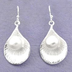 Natural white pearl 925 sterling silver earrings jewelry c23739