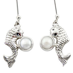 2.35cts natural white pearl 925 sterling silver fish earrings jewelry d46796