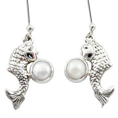 2.46cts natural white pearl 925 sterling silver fish earrings jewelry d46798