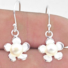 3.32cts natural white pearl 925 sterling silver flower earrings jewelry c25651