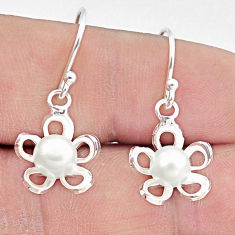2.93cts natural white pearl 925 sterling silver flower earrings jewelry c25668
