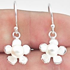 3.31cts natural white pearl 925 sterling silver flower earrings jewelry c25679