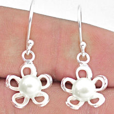 2.91cts natural white pearl 925 sterling silver flower earrings jewelry c25706