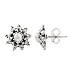 1.74cts natural white pearl 925 sterling silver stud earrings jewelry r22782