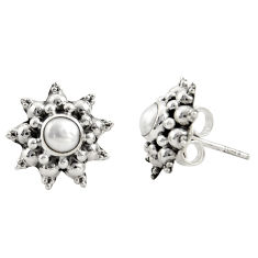 1.63cts natural white pearl 925 sterling silver stud earrings jewelry r22802
