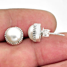 5.81cts natural white pearl 925 sterling silver stud earrings jewelry r38567