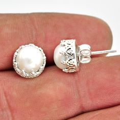 6.50cts natural white pearl 925 sterling silver stud earrings jewelry r38609