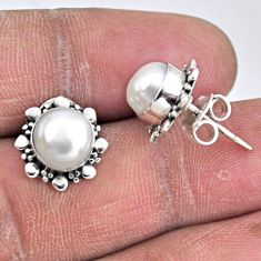 4.89cts natural white pearl 925 sterling silver stud earrings jewelry r55148