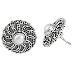 1.62cts natural white pearl 925 sterling silver stud earrings jewelry r59713