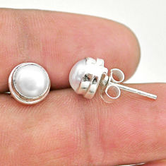 4.47cts natural white pearl 925 sterling silver stud earrings jewelry t19366