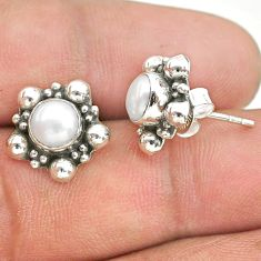 2.42cts natural white pearl 925 silver stud earrings jewelry t34153