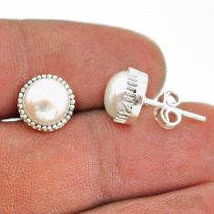 5.92cts natural white pearl 925 sterling silver stud earrings jewelry t43773