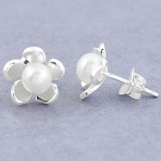 Natural white pearl 925 sterling silver stud flower earrings jewelry c20224