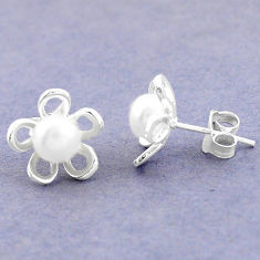 Natural white pearl 925 sterling silver stud flower earrings jewelry c25667