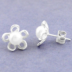 Natural white pearl 925 sterling silver stud flower earrings jewelry c25702