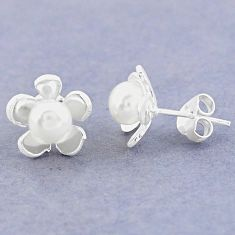 Natural white pearl 925 sterling silver stud flower earrings jewelry c25709