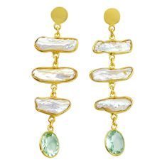 17.49cts natural white pearl amethyst handmade14k gold dangle earrings t16341