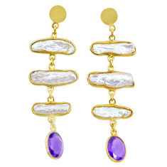 17.66cts natural white pearl amethyst handmade14k gold dangle earrings t16345