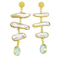 18.79cts natural white pearl amethyst handmade14k gold dangle earrings t16354
