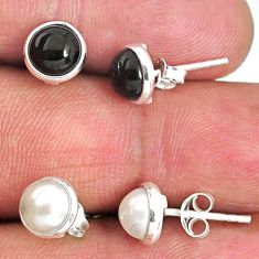 4.81cts natural white pearl black onyx 925 sterling silver stud earrings r65511
