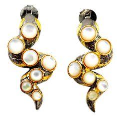 Natural white pearl black rhodium 925 silver 14k gold dangle earrings c24177