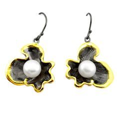Natural white pearl black rhodium 925 sterling silver 14k gold earrings c24201