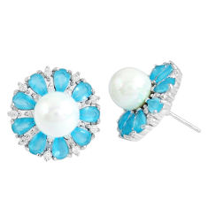 Natural white pearl blue chalcedony 925 silver stud earrings jewelry c19611
