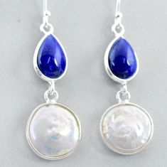 14.59cts natural white pearl blue lapis lazuli 925 silver dangle earrings t37245