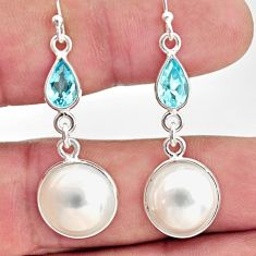 13.60cts natural white pearl blue topaz 925 sterling silver earrings r35990