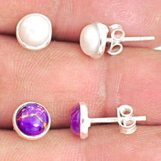 5.73cts natural white pearl copper turquoise 925 silver stud earrings r81633