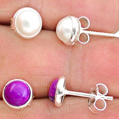 4.10cts natural white pearl copper turquoise 925 silver stud earrings t23871