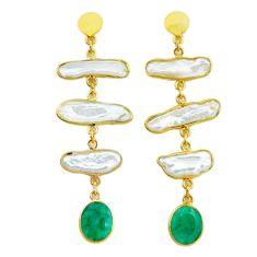 18.73cts natural white pearl emerald handmade14k gold dangle earrings t16568