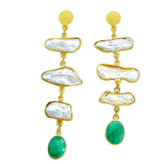 19.68cts natural white pearl emerald handmade14k gold dangle earrings t16580