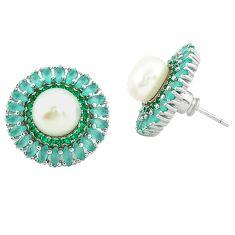 Natural white pearl emerald quartz 925 sterling silver earrings c19618