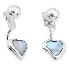 4.02gms natural white pearl enamel 925 silver heart love earrings c23060