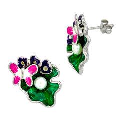 Natural white pearl enamel 925 sterling silver butterfly earrings jewelry c16955