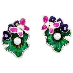 Natural white pearl enamel 925 sterling silver butterfly earrings jewelry c16943