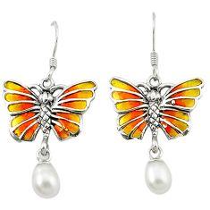 Natural white pearl enamel 925 sterling silver butterfly earrings c20885