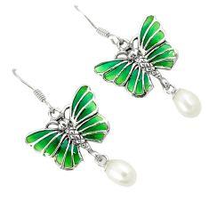 Natural white pearl enamel 925 sterling silver butterfly earrings jewelry c22861