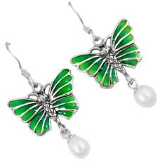 Natural white pearl enamel 925 sterling silver butterfly earrings jewelry c22862