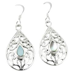 4.02gms natural white pearl enamel 925 sterling silver dangle earrings c11721