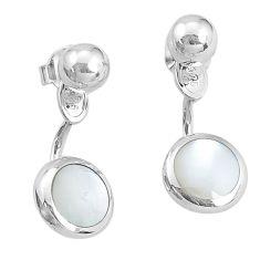 4.48gms natural white pearl enamel 925 sterling silver dangle earrings c23055