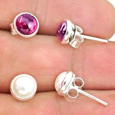 4.77cts natural white pearl garnet 925 sterling silver stud earrings t23945