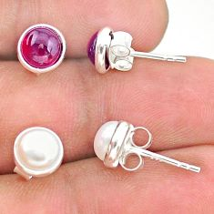 4.46cts natural white pearl garnet 925 sterling silver stud earrings t23947