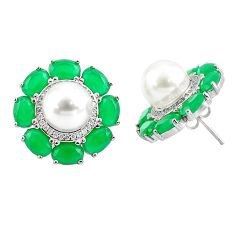 20.56cts natural white pearl green chalcedony 925 silver stud earrings c19601