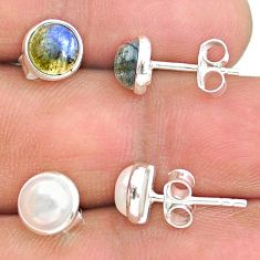 4.46cts natural white pearl labradorite 925 sterling silver stud earrings t23926