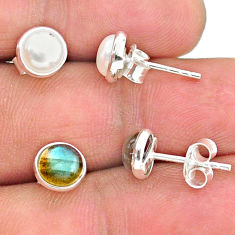 4.41cts natural white pearl labradorite 925 sterling silver stud earrings t23950